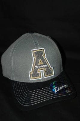 """Gray w/ Black Textured Bill Basic 'A"""" Fitted Hat $21.95"""