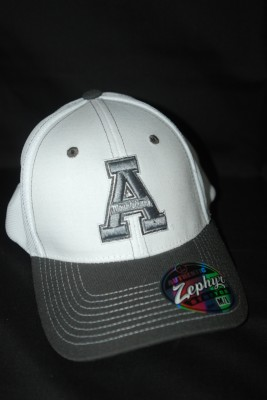 White w/ Gray Bill Basic 'A' Logo Fitted Hat $21.95