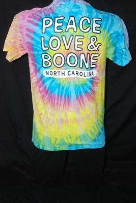 "Back Tye Dye ""Peace Love & Boone"" Tee $20.95"