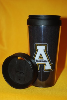 Black App Logo Travel Mug $12.95
