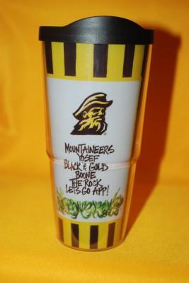 Black and Gold Striped Travel Mug $12.95