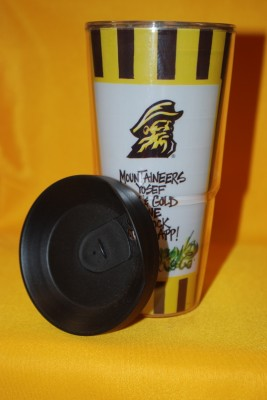 Black and Gold Striped Travel Mug $12.95