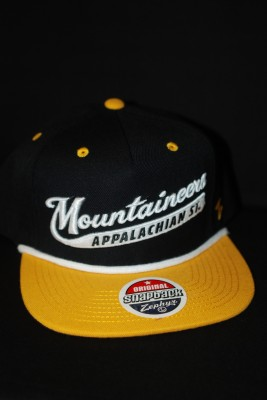 """Mountaineers"" Cursive Black and Gold Hat $22.95"