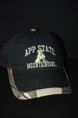 Black App State Hat w/ Camo Buckle $16.95