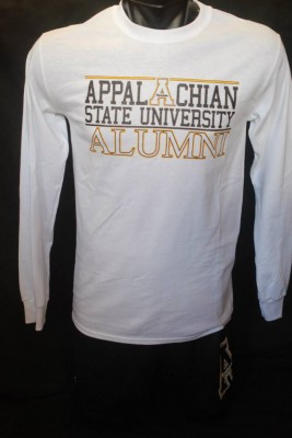 app state white long sleeve alumni, size small-2xl, 14.95