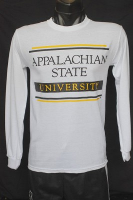 appalchian state bar logo white long sleeve, size small-3xl, 14.95