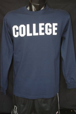 colllege long sleeve, navy size small-2xl, 12.95