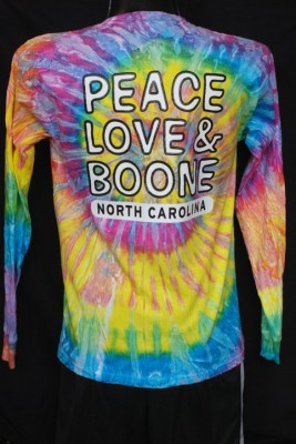 long sleeve tye dye, peace love and boone,size small-2xl, 23.95